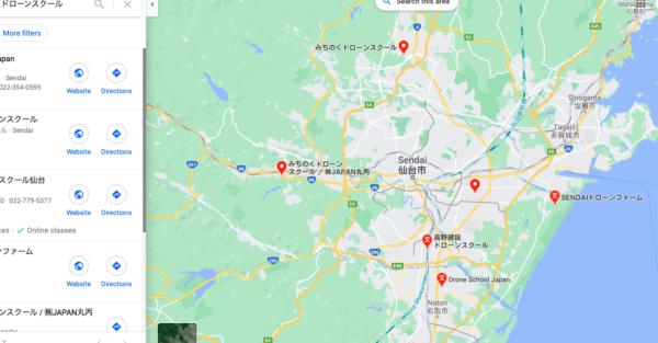 宮城県仙台市のドローンスクールマップです。